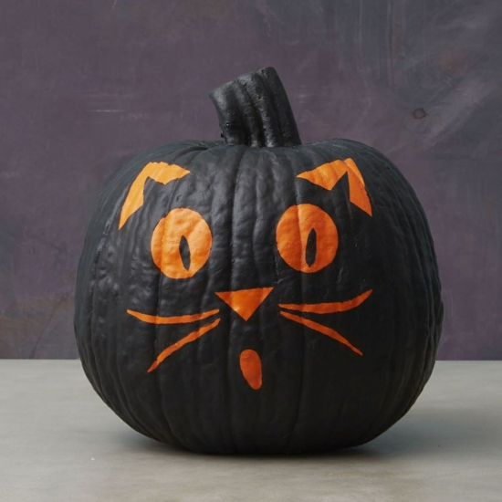 kürbis bemalen halloween deko selber machen schwarze katze
