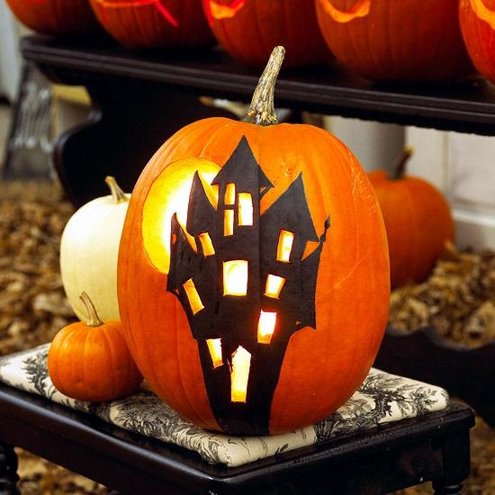 kürbis bemalen halloween geisterschloss