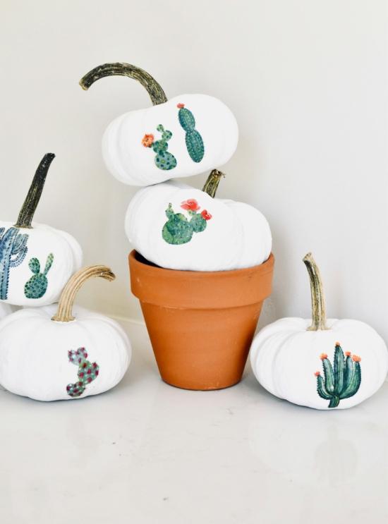 kürbis bemalen kaktus motive weiße kürbisse
