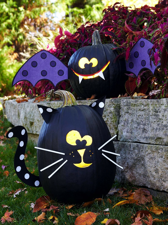 kürbis bemalen schwarze katze fledermaus halloween