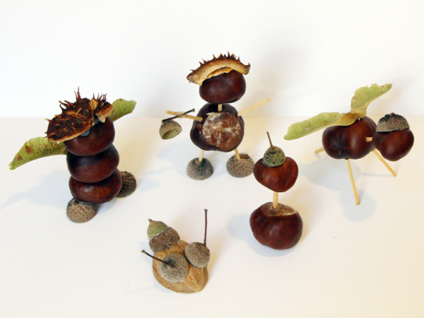 kleine und charmante Kastanienfiguren