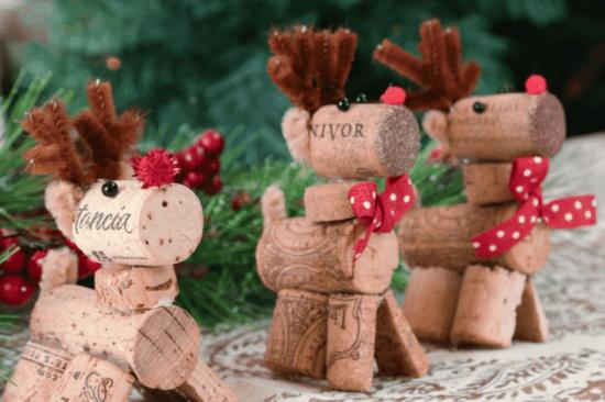 kreative rentiere basteln aus korken zu weihnachten
