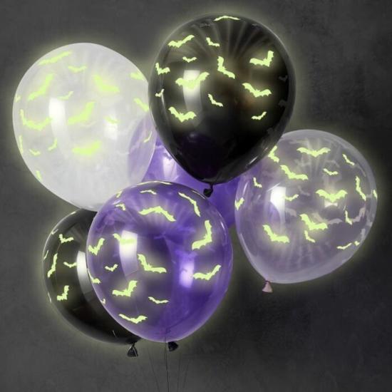 leuchtfarbe luftballons halloween deko fledermäuse
