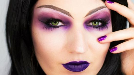 lila make up hexe schminken halloween fasching