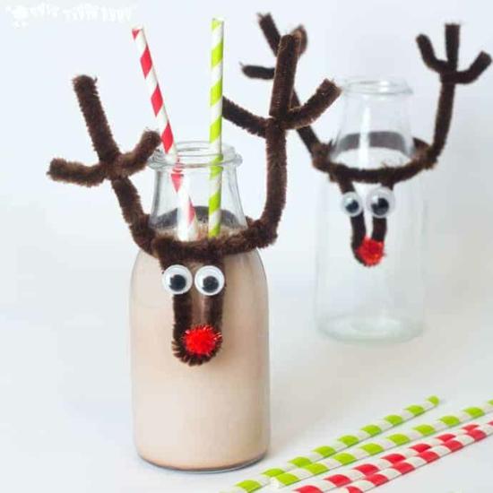 originele deko idee weihnachten flasche rentier basteln
