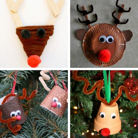 originelle bastelideen weihnachten rentiere basteln weihnachtsschmuck