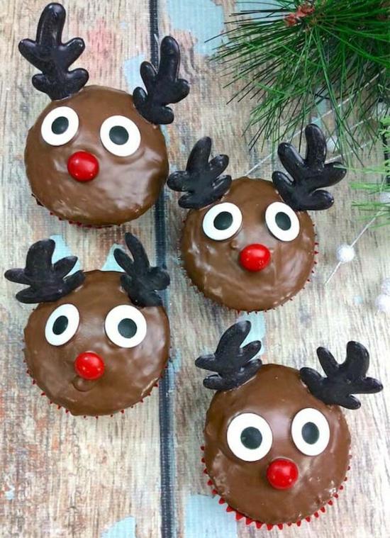 rentier basteln muffins backen weihnachten