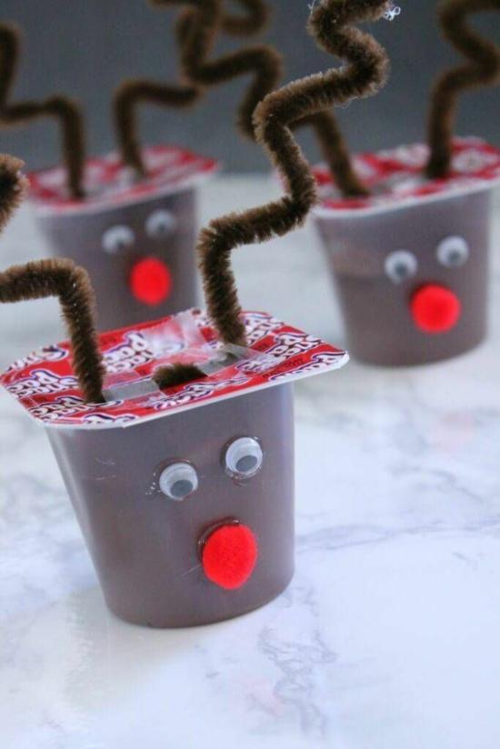 rentier basteln pudding dekorieren