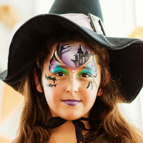 schönes halloween make up kleine hexe schminken