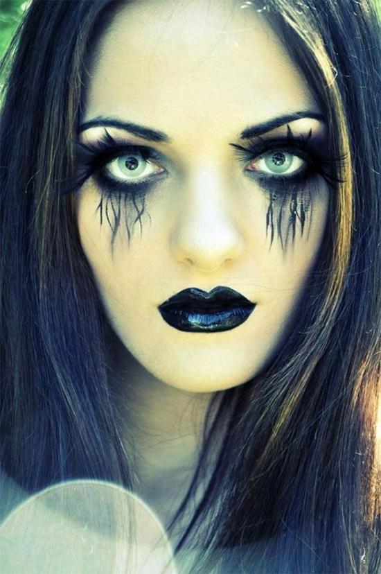 schaurige hexe schminken halloween make up