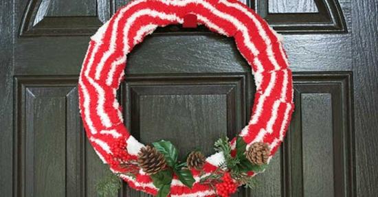 türkranz weihnachten aus alten socken weihnachtsdeko basteln