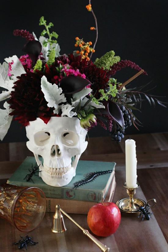 tischdeko halloween diy deko mit schädel