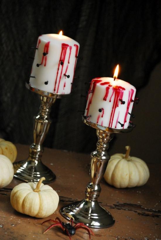 tischdeko halloween kerzen mit kunstblut dekorieren