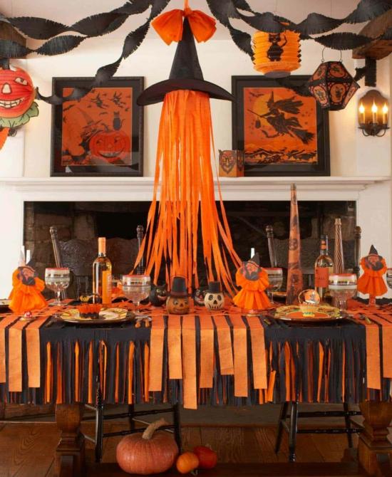 tischdeko zu halloween in schwarz orange mit hexenhut