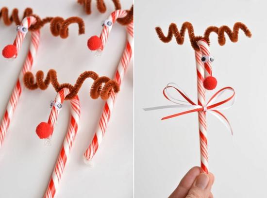 zuckerstangen rentier basteln weihnachtsdeko