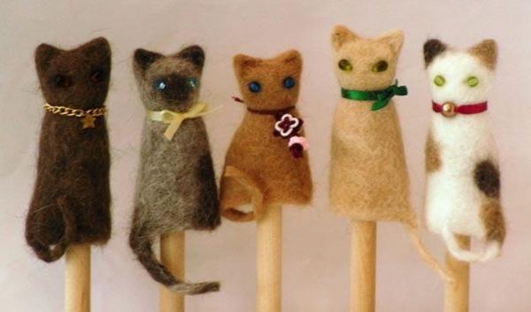 Basteln mit Katzenhaaren DIY Projekte mit Tierhaaren Katzenfiguren filzen