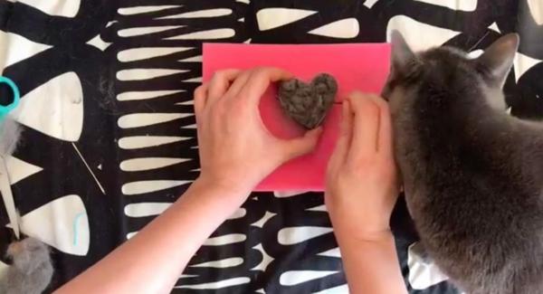 Basteln mit Katzenhaaren Herz basteln Anleitung