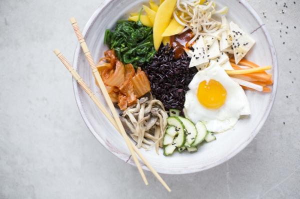 Bibimbap Rezept Reispfanne nach korianischer Art asiatische Küche