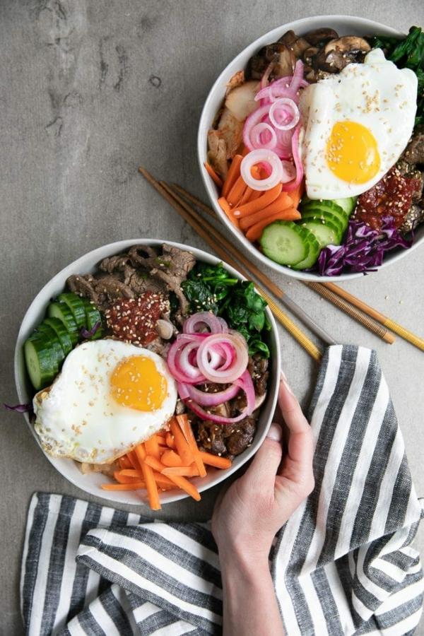 Bibimbap Rezept korianische Reispfanne zu zweit genießen