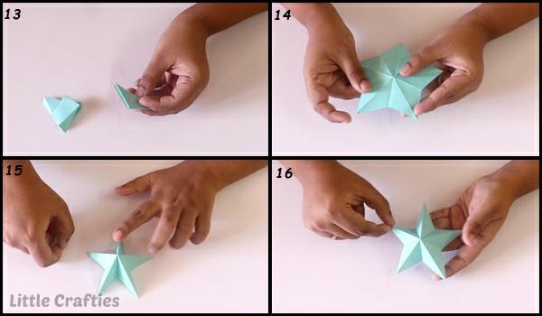 Faltsterne basteln 3D Papierstern basteln mit Kindern