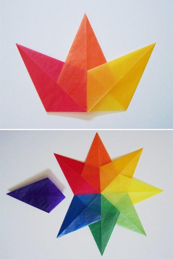 Faltsterne basteln Papierstern Schritt für Schritt Anleitung basteln mit Kindern