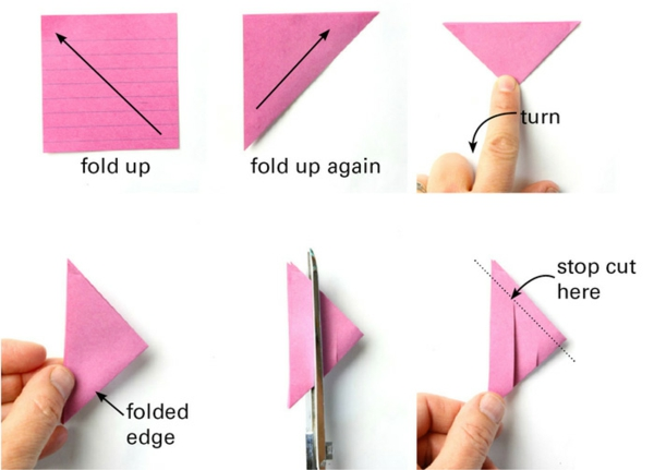 Faltsterne basteln Papierstern aus Notizblättern Falttechnik