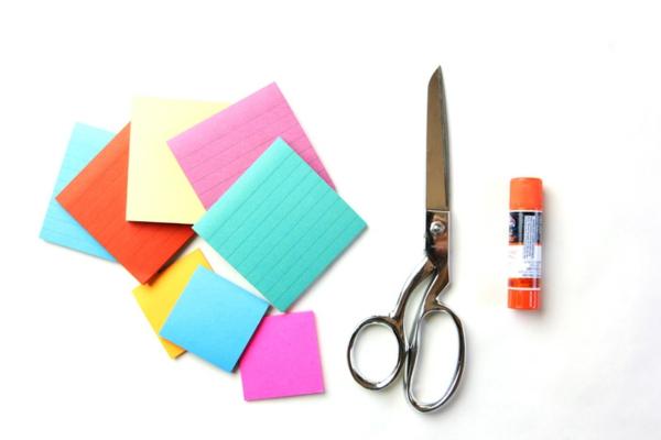 Faltsterne basteln Papierstern aus Notizblättern falten