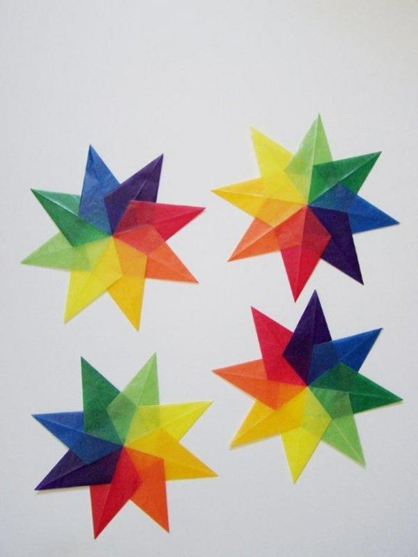Faltsterne basteln Papierstern farbig basteln mit Kindern