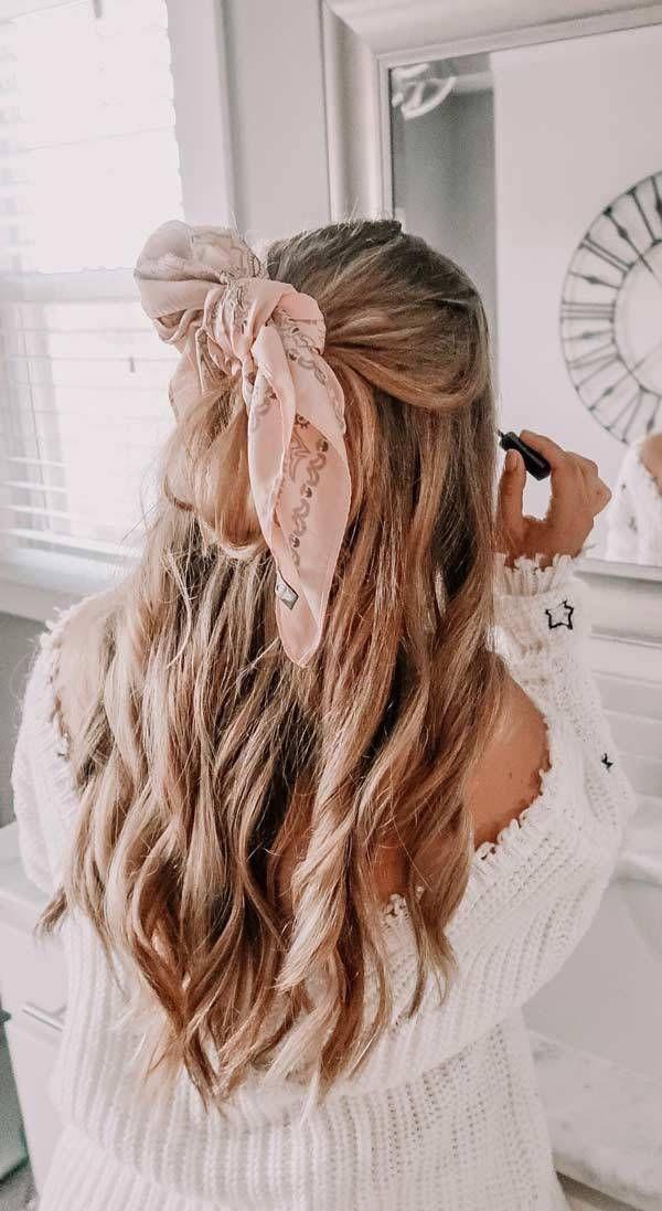 Hübsche, schnelle und einfache Frisuren für Anfänger, die in 5 Minuten machbar sind haare mit schal tuch frisur