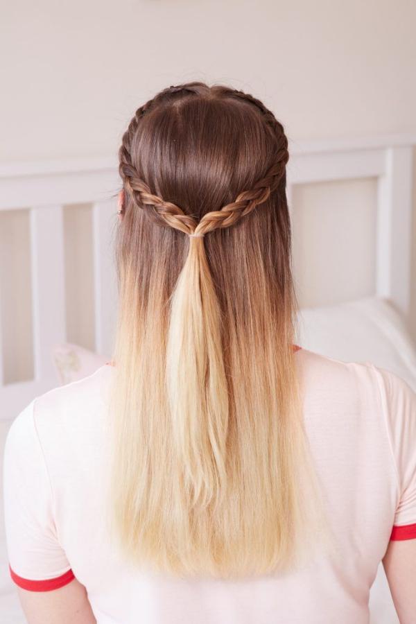 Hübsche, schnelle und einfache Frisuren für Anfänger, die in 5 Minuten machbar sind half up half down ombre