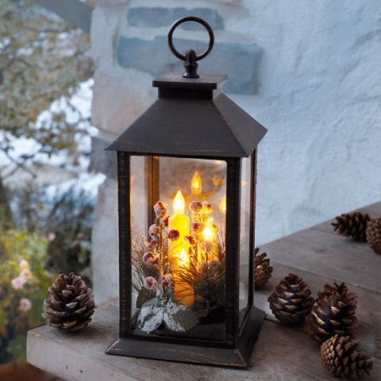 Laternen Weihnachtsdeko drinnen und draußen eine LED-Kerze eine clevere Dekoidee
