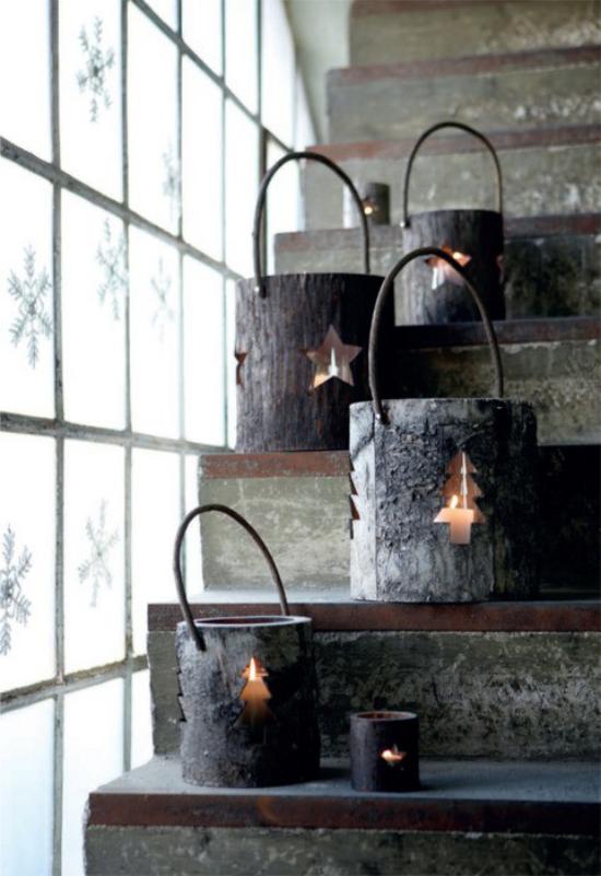 Laternen Weihnachtsdeko drinnen und draußen rustikale Laternen mit Baumrinde selber basteln