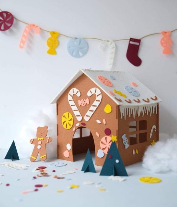 Lebkuchenhaus basteln zu Weihnachten – festliche Ideen, Rezept und Anleitung filz karton kinder bastel kit