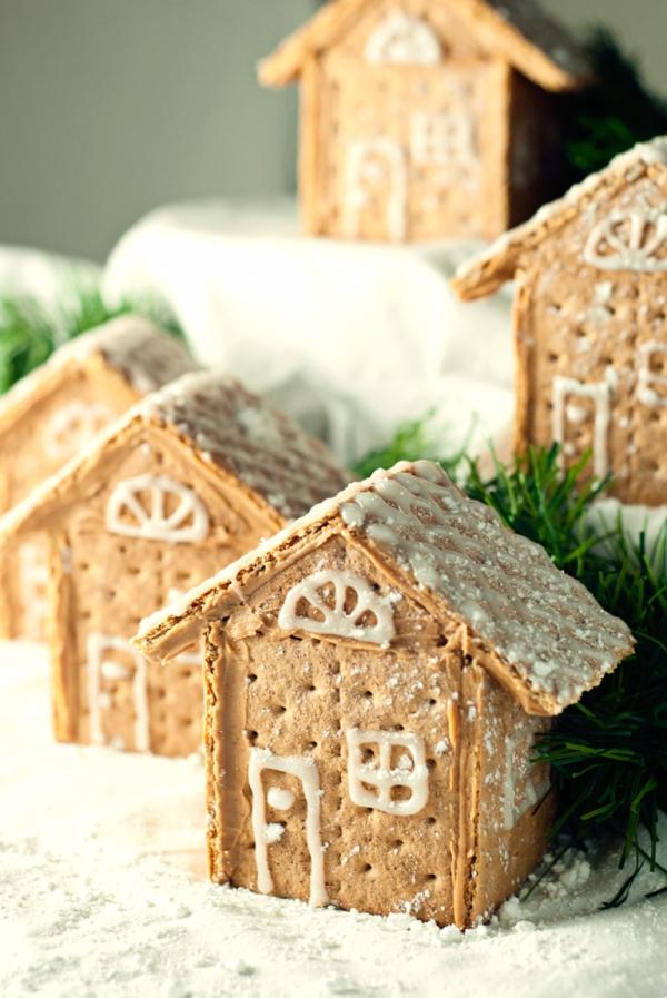 Lebkuchenhaus basteln zu Weihnachten – festliche Ideen, Rezept und Anleitung kracker crackers häuser salzig süß