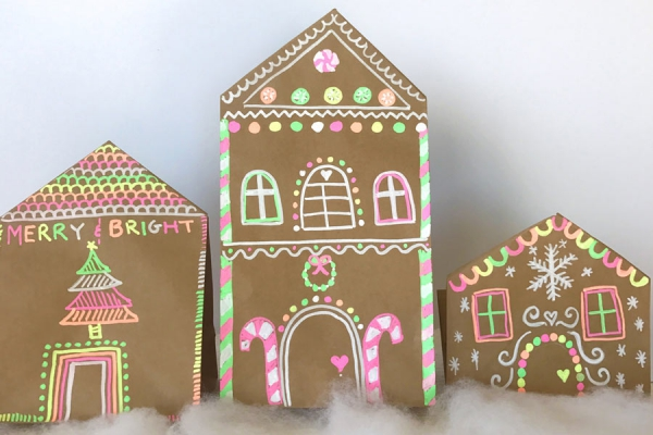 Lebkuchenhaus basteln zu Weihnachten – festliche Ideen, Rezept und Anleitung papier tüten häuser dorf