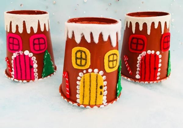 Lebkuchenhaus basteln zu Weihnachten – festliche Ideen, Rezept und Anleitung papierbecher upcycling kinder bastelideen