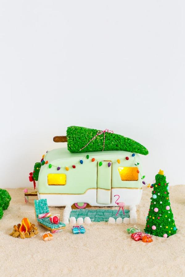 Lebkuchenhaus basteln zu Weihnachten – festliche Ideen, Rezept und Anleitung süßigkeiten lebhaus wohnwagen