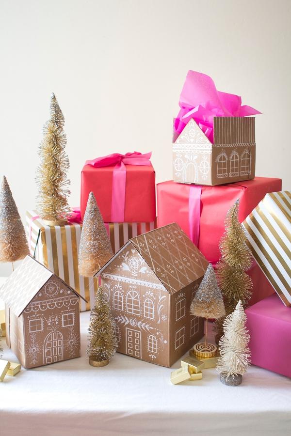 Lebkuchenhaus basteln zu Weihnachten – festliche Ideen, Rezept und Anleitung weihnachtsdorf karton papier häuser deko