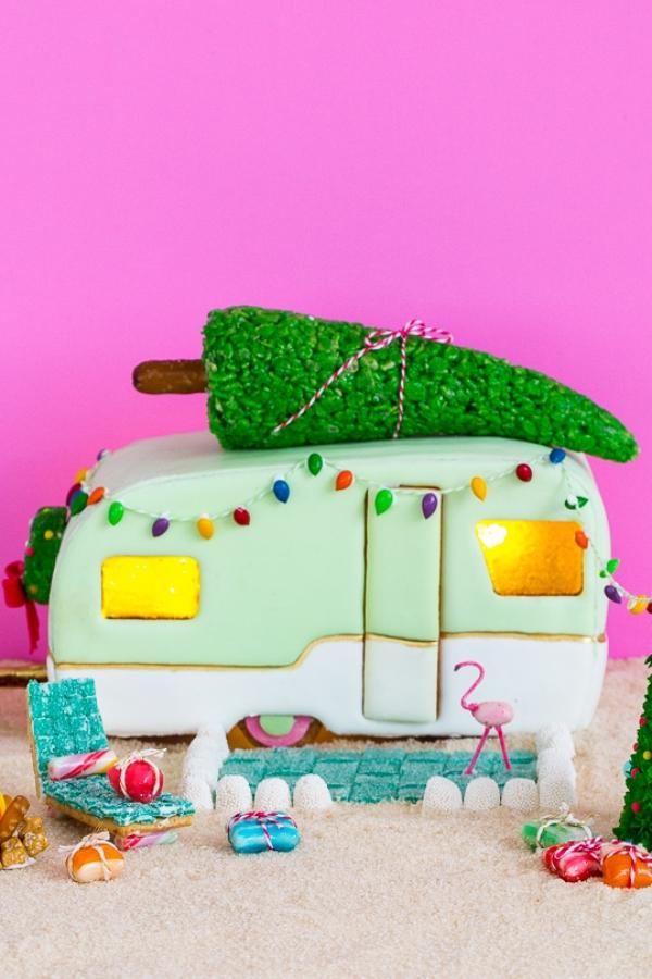 Lebkuchenhaus basteln zu Weihnachten – festliche Ideen, Rezept und Anleitung wohnwagen deko haus lebkuchen