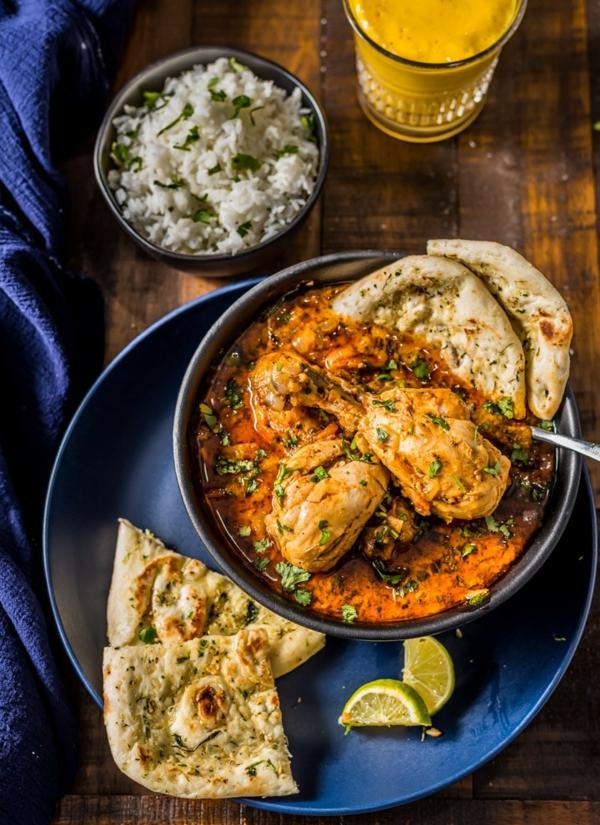 Naan Brot backen indisches Essen Basmati Reis