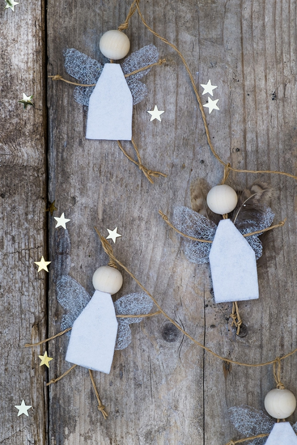 Schutzengel basteln mit Kindern zu Weihnachten – zauberhafte Ideen und Anleitung einfache engel girlande filz