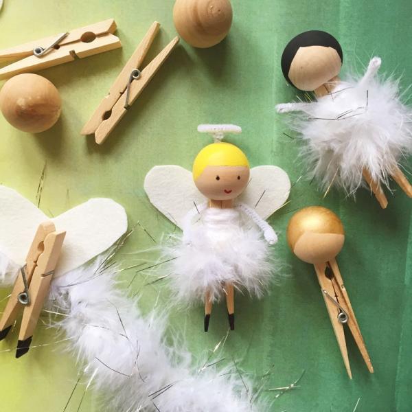 Schutzengel basteln mit Kindern zu Weihnachten – zauberhafte Ideen und Anleitung einfache engel wäscheklammer diy