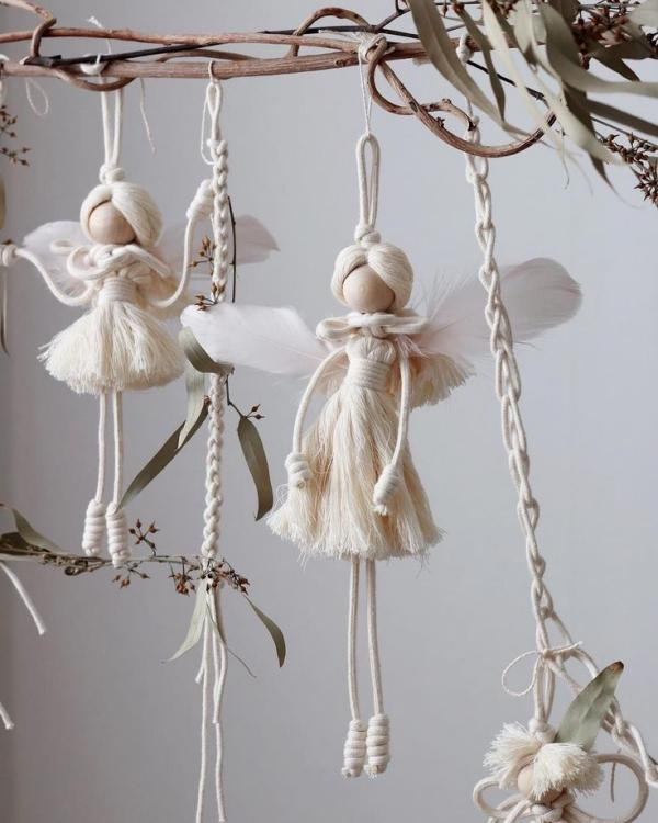 Schutzengel basteln mit Kindern zu Weihnachten – zauberhafte Ideen und Anleitung engel aus seil und garn