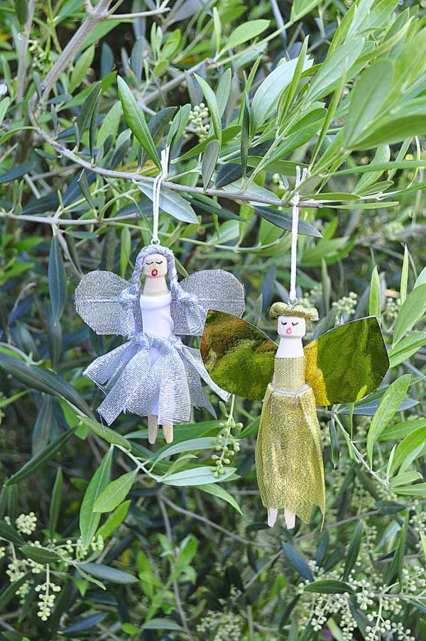 Schutzengel basteln mit Kindern zu Weihnachten – zauberhafte Ideen und Anleitung wäscheklammer engel deko ornamente