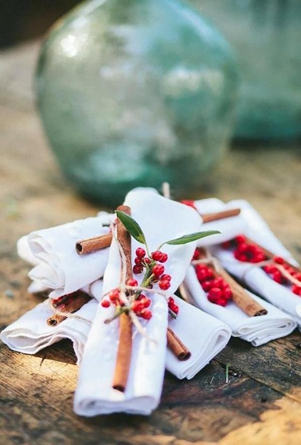 Serviettenringe basteln zu Weihnachten – Stilvolle Ideen und Anleitungen für eine festliche Tischdeko deko tischdeko zimtstangen