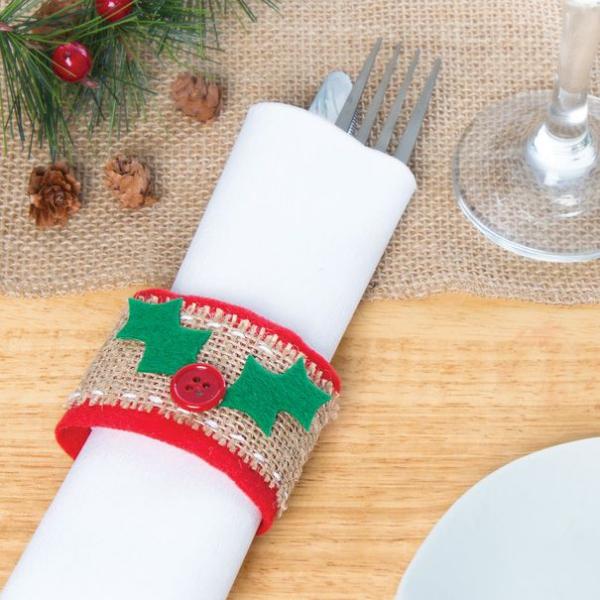 Serviettenringe basteln zu Weihnachten – Stilvolle Ideen und Anleitungen für eine festliche Tischdeko klorollen deko filz stoff