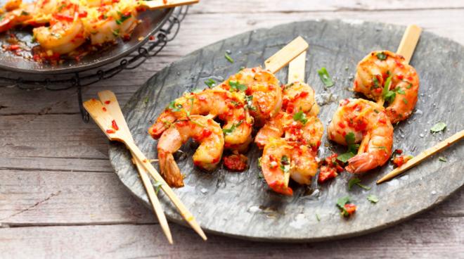 Stoffwechseldiät Easy-Body-System Shrimps in der Pfanne zubereitet