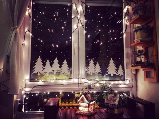 Weihnachtliche Fensterdeko Fensterbeleuchtung LED Lichter Sternenhimmel