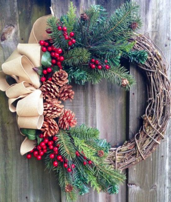 Weihnachtskranz schöner Schmuck für Fenster Tür Wand