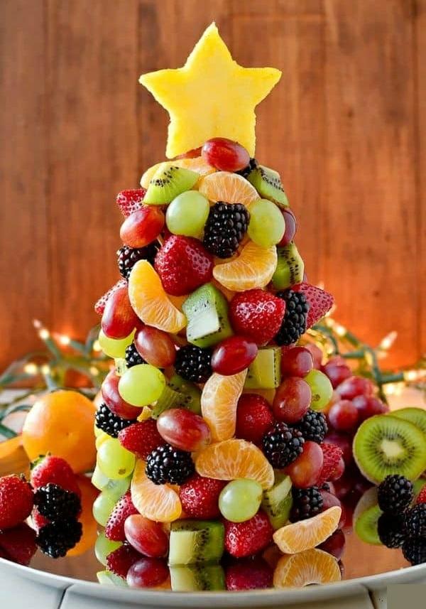 Weihnachtsmenü Ideen und Tipps Weihnachtsfeier veranstalten Tannenbaum aus Früchten
